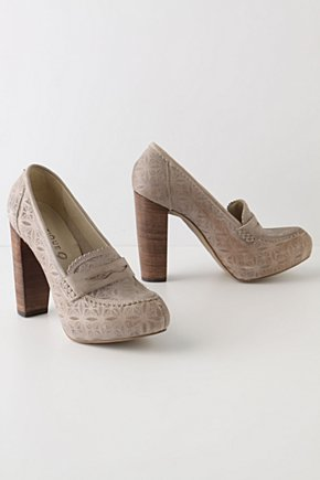 Botanist Heeled Loafers - Anthropologie.com :  platform preppy leather laser cut
