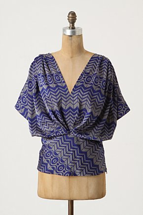 Geo Feather Blouse - Anthropologie.com :  blouse cummerbund nature inspired feather print