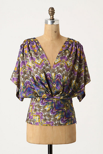 Geo Feather Blouse - Anthropologie.com :  blouse v neck silky angular