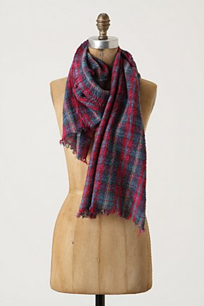 Furrowed Plaid Scarf - Anthropologie.com :  wool pink puckered teal