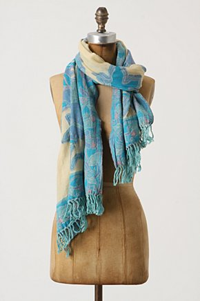 Temperate Garden Scarf - Anthropologie.com :  wool floral pink aqua