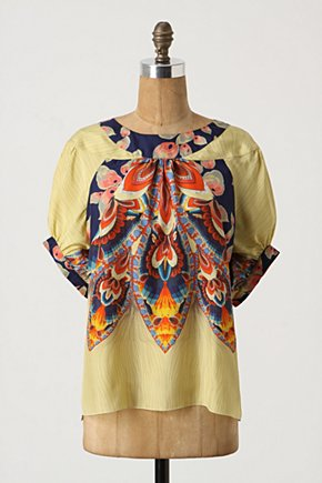 Floriography Blouse - Anthropologie.com :  dolman sleeves blouse silk colorful