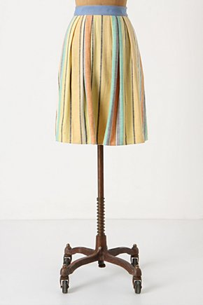 Pale Bright Skirt  - Anthropologie.com :  linen blend cotton blend ribbon pastel