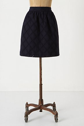 Diamante Skirt - Anthropologie.com :  eyelet navy side pockets overlay