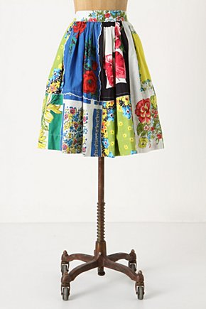 Picnic Society Skirt - Anthropologie.com :  patchwork seamed voile scalloped