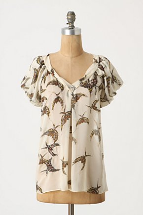 Pellucid Wings Blouse - Anthropologie.com :  blouse beaded neutral silk