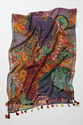 Printwork Scarf - Anthropologie.com :  wool blend colorful swirly psychedelic