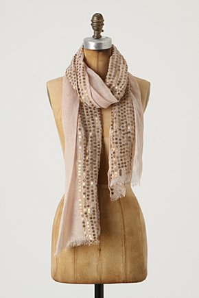 Andamento Scarf - Anthropologie.com :  neutral sequins scarf gold accents