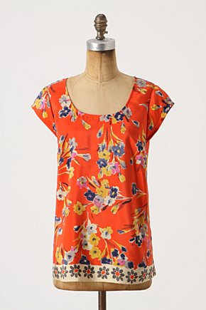 Blazing Blouse - Anthropologie.com :  blouse silk red and floral watercolor