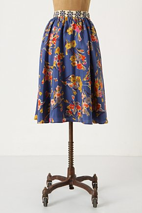 Goldfield Skirt - Anthropologie.com :  silk blue and floral cheery sunny