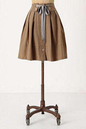 Vichyssoise Skirt - Anthropologie.com :  button front twill side pockets cinched waist