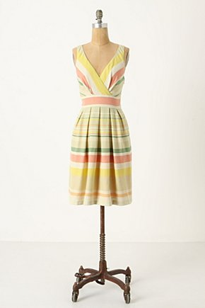 Kingston Road Dress - Anthropologie.com :  nubby surplice neckline pleated colorful