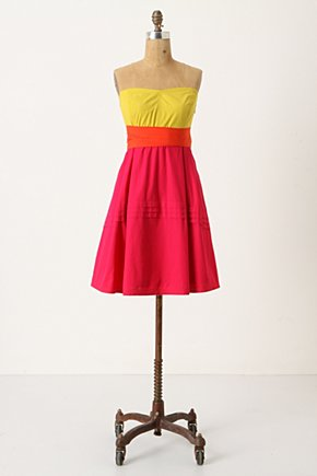 Parading Hues Dress - Anthropologie.com :  tricolor hot pink yellow orange