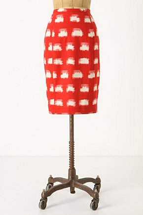 Ackee Pencil Skirt - Anthropologie.com :  red and white brushstroke pencil skirt summery