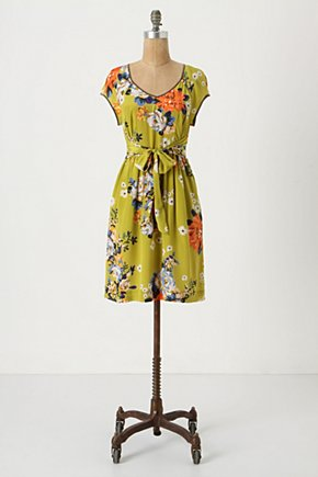 Chartreuse Shoots Dress - Anthropologie.com :  chartreuse party frock bouquet print silk