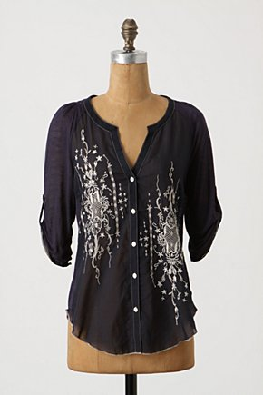 Lush Lattice Shirt - Anthropologie.com :  button front embroidery silk blend shirt