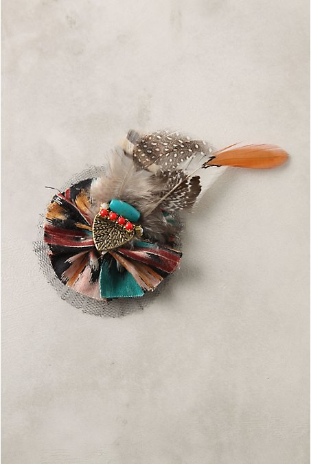 Fanciful Feather Clip - Anthropologie.com :  beads brass hair feathers