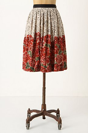 Mid-Creation Skirt - Anthropologie.com :  beaded embroidery red voile