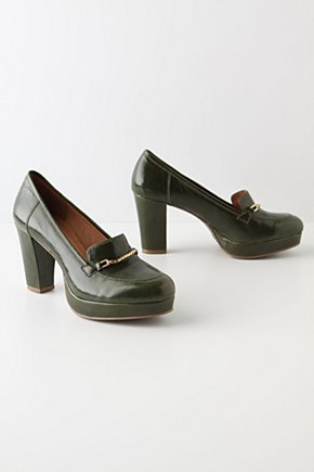 Glossed Loafers - Anthropologie.com :  platform preppy leather shiny