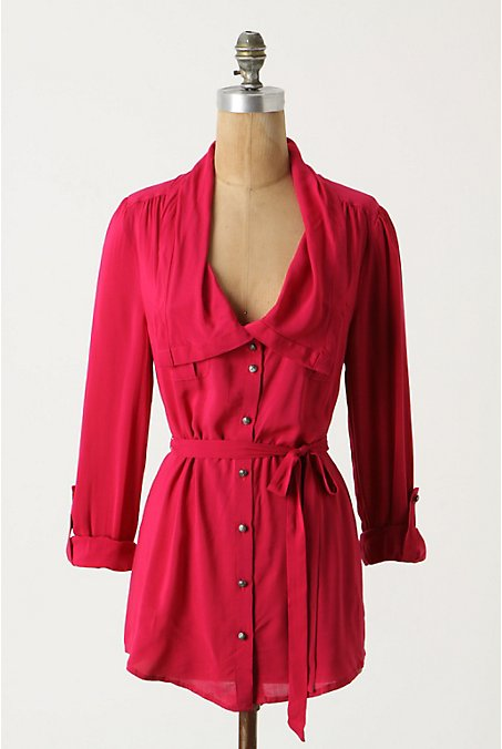 Draped Collar Tunic - Anthropologie.com :  blouse anthro tie waist tunic