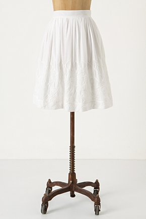 White Trillums Skirt - Anthropologie.com :  embroidered voile white pleats
