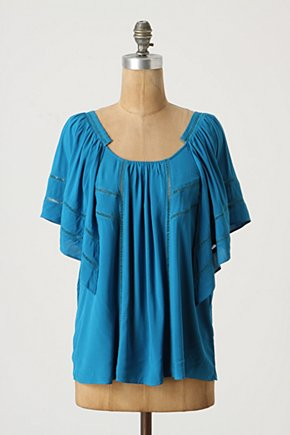 In Flight Top - Anthropologie.com :  blouse panels ladder stitch winged sleeves