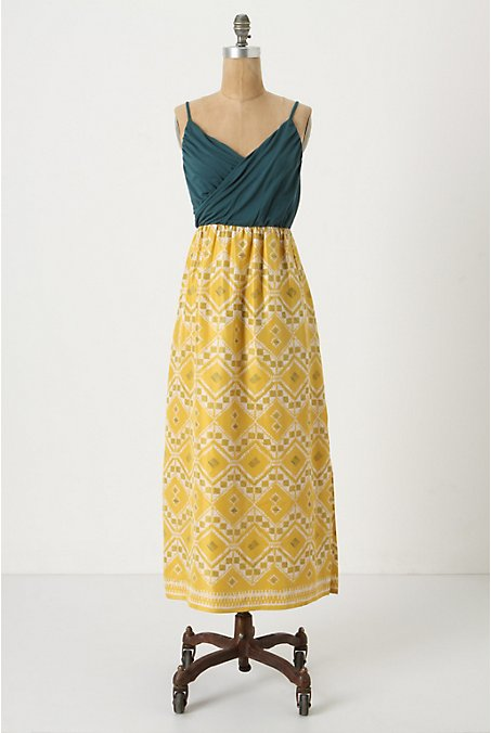 Cuernavaca Maxi - Anthropologie.com :  silk dress maxi yellow
