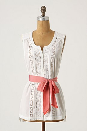 With A Twist Tank - Anthropologie.com :  button front embroidered tie waist tank top