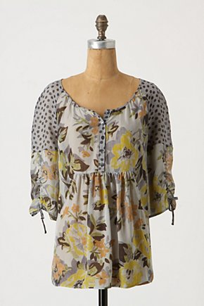 Inherited Blooms Top - Anthropologie.com :  button front floral blouse silk