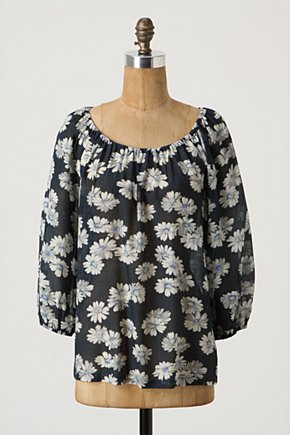 Blaue Blume Blouse - Anthropologie.com :  blouse pullover airy navy and white