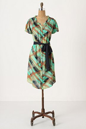 Sprightly Shirtdress - Anthropologie.com :  shirt dress smocked tie waist brass buttons