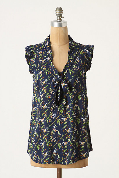 Loosened Shelby Blouse - Anthropologie.com :  floral blouse bow tie plunging neckline