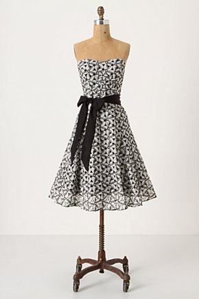 Overwhelmed Aster Dress - Anthropologie.com :  chiffon strapless retro inspired black and white