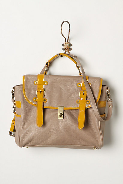 Lane Lines Bag - Anthropologie.com :  neutral leather trimmed mustard