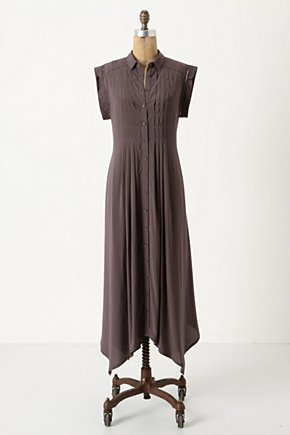 Forever Fond Shirtdress - Anthropologie.com :  button front pintucks brown handkerchief hem