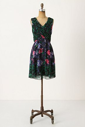 Blurred Hydrangea Dress - Anthropologie.com :  nature inspired silk party dress ruched