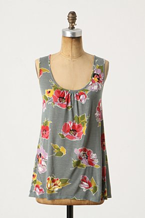 Flimflam Tank - Anthropologie.com :  green and floral jersey modal tie back