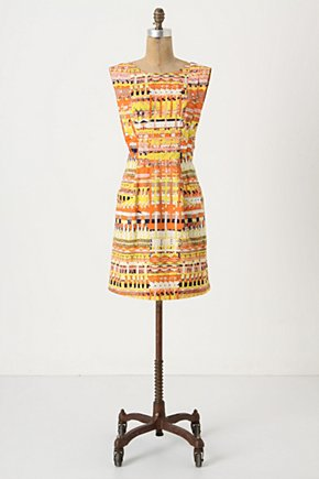 Brilliant Chaos Shift - Anthropologie.com :  patterned shift dress geometric orange