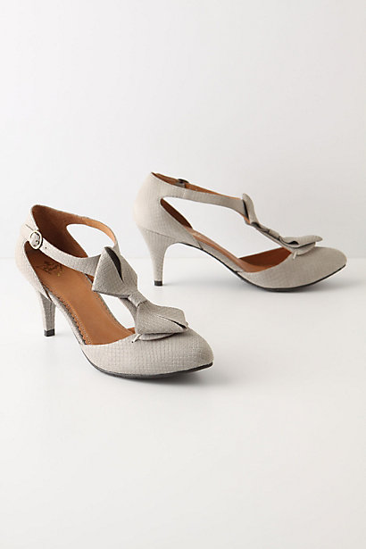 Antaresia T-Straps - Anthropologie.com :  bows embossed grey buckle