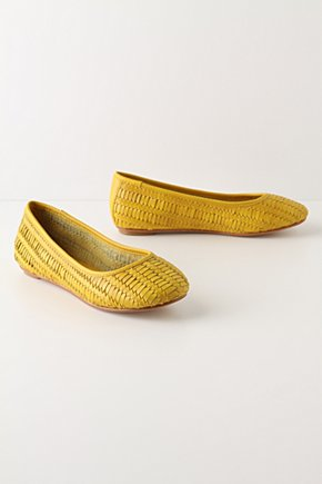 Chelsea Morning Flats - Anthropologie.com :  leather sunny woven skimmers