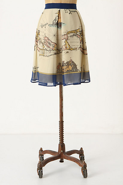 Map Of The World Skirt - Anthropologie.com :  neutral map print pleated silk chiffon