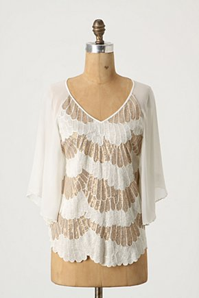 Feathered Gleam Blouse - Anthropologie.com :  kimono blouse neutral silk