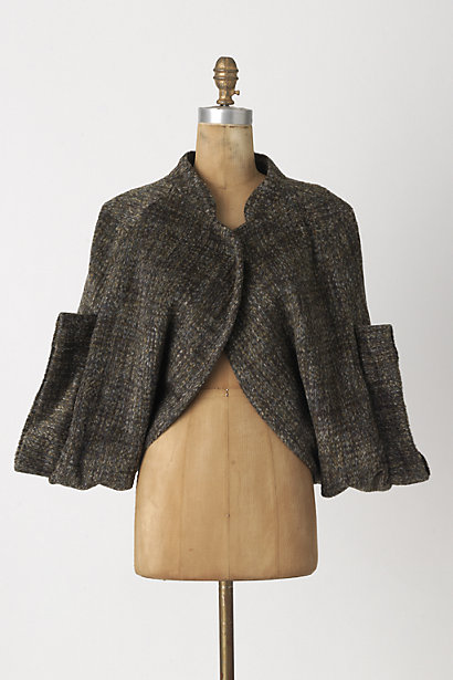 This & That Cape - Anthropologie.com :  shrug wooly button closure grey