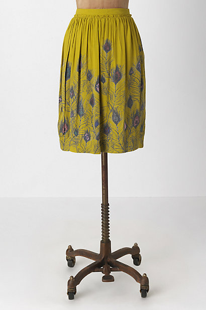 Swaying Meadow Skirt - Anthropologie.com :  feather print peacock viscose gold