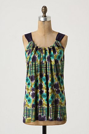 Wavelengths Tank - Anthropologie.com :  floral artistic ribbon gathered
