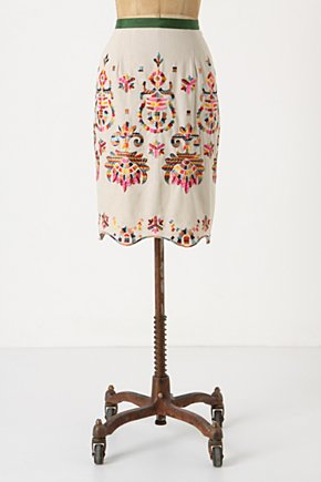 Majestic Medallions Skirt - Anthropologie.com :  linen blend embroidery neutral ribbon