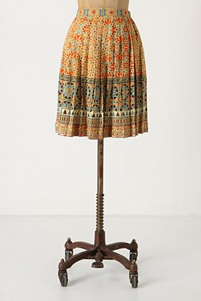 Rotational Symmetry Skirt - Anthropologie.com :  patterned geometric orange satin