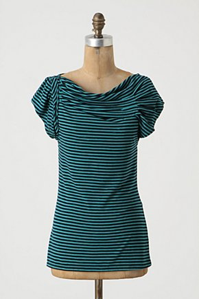 Pleated Yoke Tee - Anthropologie.com :  jersey stripes pleated tee