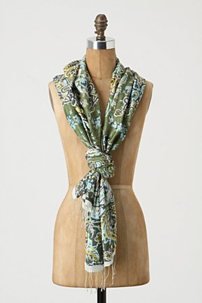Iznik Scarf - Anthropologie.com :  silk cheery fringe colorful