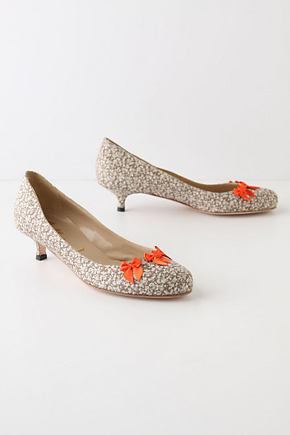 Ixora Kitten Heels - Anthropologie.com :  bows ditsy print crimson cotton blend